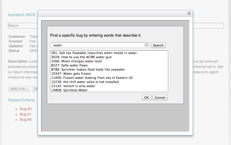 Using the delegated dialog for selection to search for water